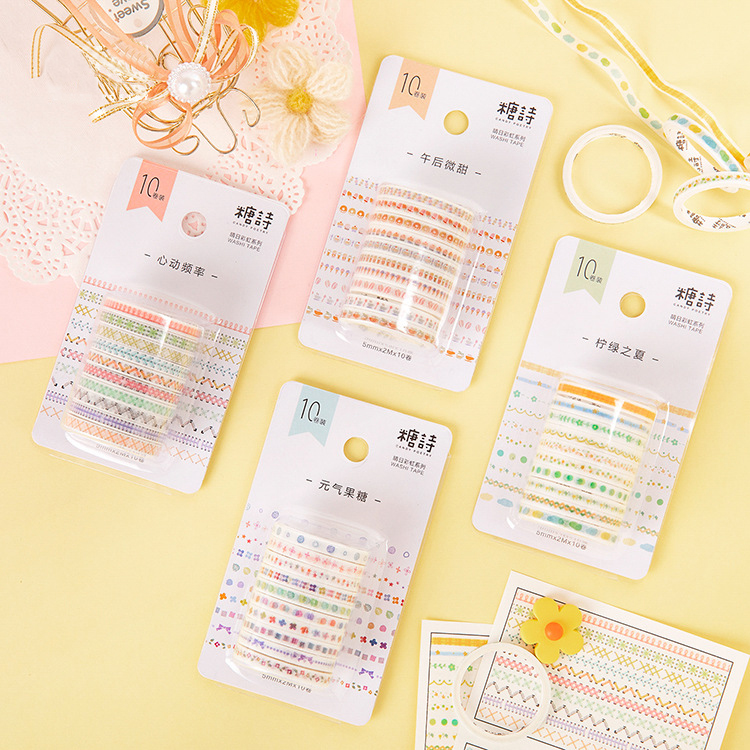 Mohamm Sunny Rainbow Series Color Washi Masking Tape Release Paper Stickers Scrapbooking Stationery Decorative Tape