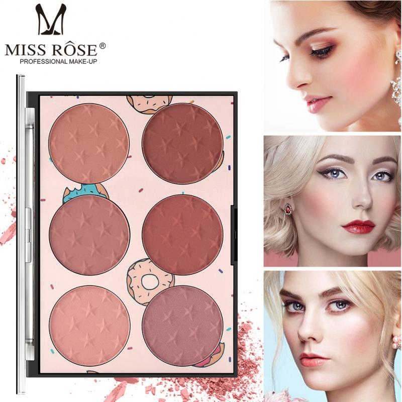 MISS ROSE 6 Colors Face Mineral Pigment Blusher Blush Powder Cosmestics Professional Palette Blush Contour Shadow TSLM1