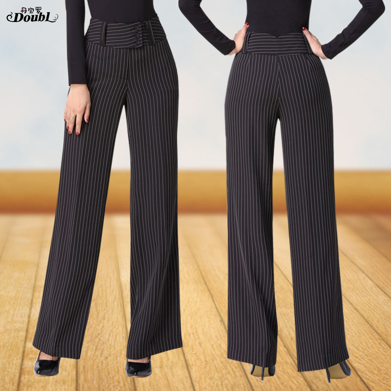 Doubl Vertical Striped Modern Trousers Modern Women's Latin Ballroom Pants Female Adult National Standard Dance Costume Thin