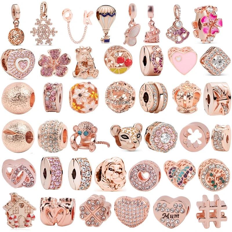 2021 Pandora Christmas Charms Couqcy 2021 Christmas 1pcs Original Rose Gold Lion Clip Love Butterfly Diy Beads Fit Pandora Charms Bracelet Fashion Jewelry Beads Aliexpress