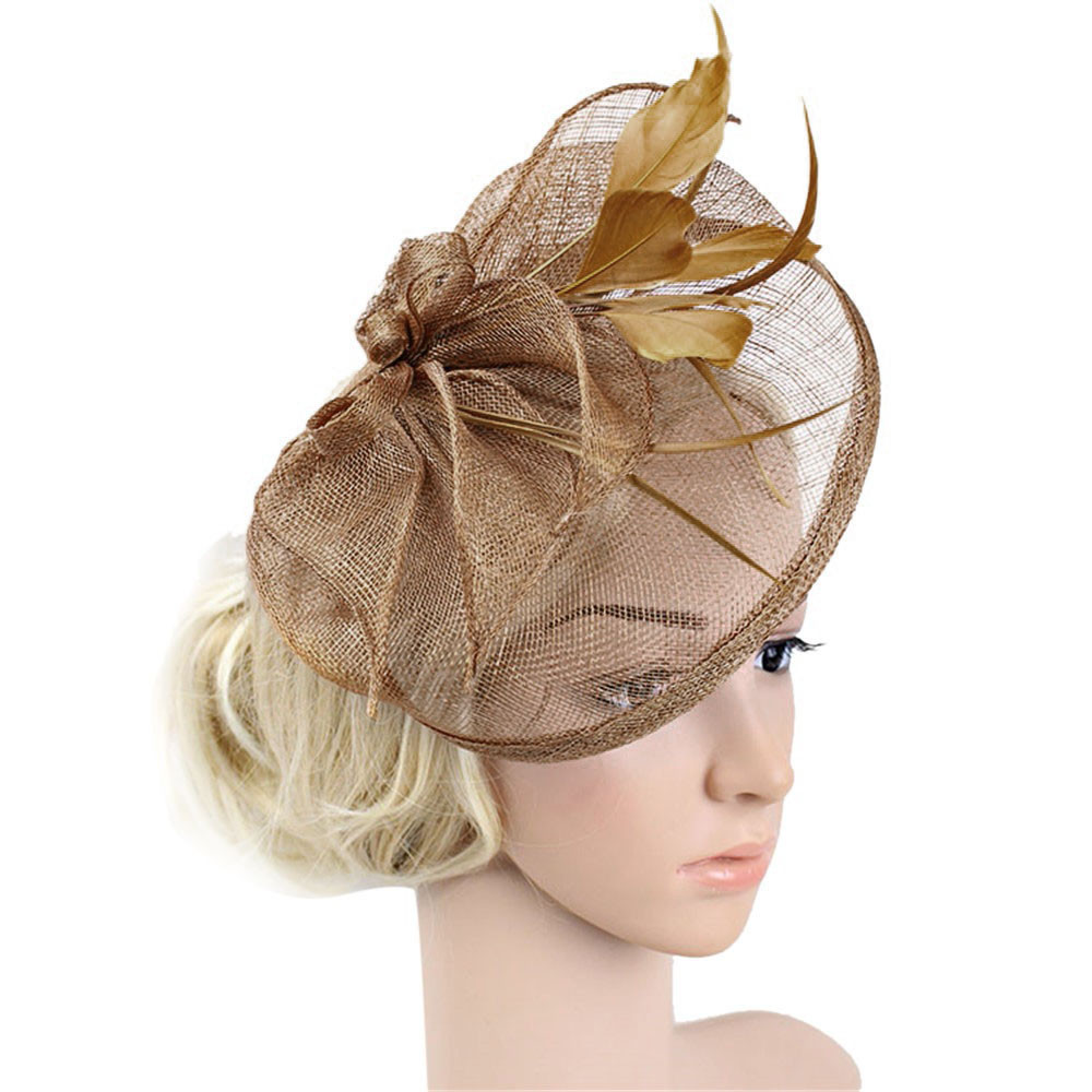 Women Fashion Wedding Mesh Hat Fascinator With Mesh Ribbons And Feathers Formal Party Elegant Hair Accessories