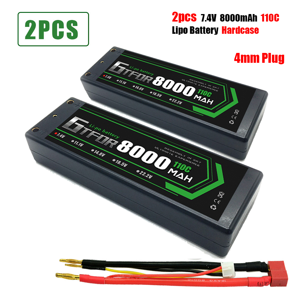 GTFDR 8000mAh 4mm Lipo <font><b>Battery</b></font> 7.4V 110C/220C <font><b>2S</b></font> LiPo RC <font><b>Battery</b></font> Deans XT60 EC5 for RC Evader Car Truck Truggy Buggy Helicopter image
