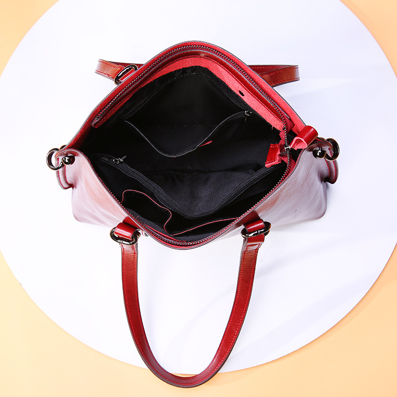 Image 5 - DIENQI Saffiano bags ladies genuine leather shoulder bag female  luxury women Real leather handbags big Boston messenger bags  redShoulder Bags