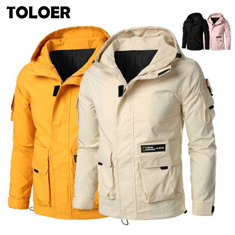 Куртка-бомбер с капюшоном, мужская куртка-бомбер с карманами-карго, дизайнерская Осенняя ветровка в стиле хип-хоп, корейская мода 5XL