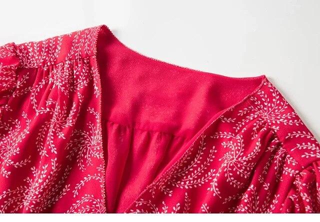 Kobiety sukienka 2019 lato nowy dekolt w serek z czerwona sukienka w Suknie od Odzież damska na  Grupa 2