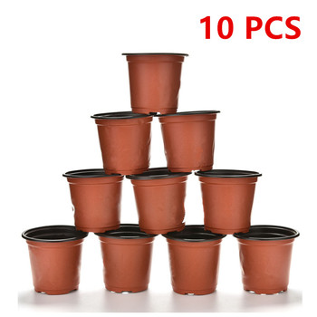 High Quality 10pcs Mini Plastic Round Flower Pot Holder Planters Terracotta Nursery Planter Home Decor LKJ Refinement Wholesale image