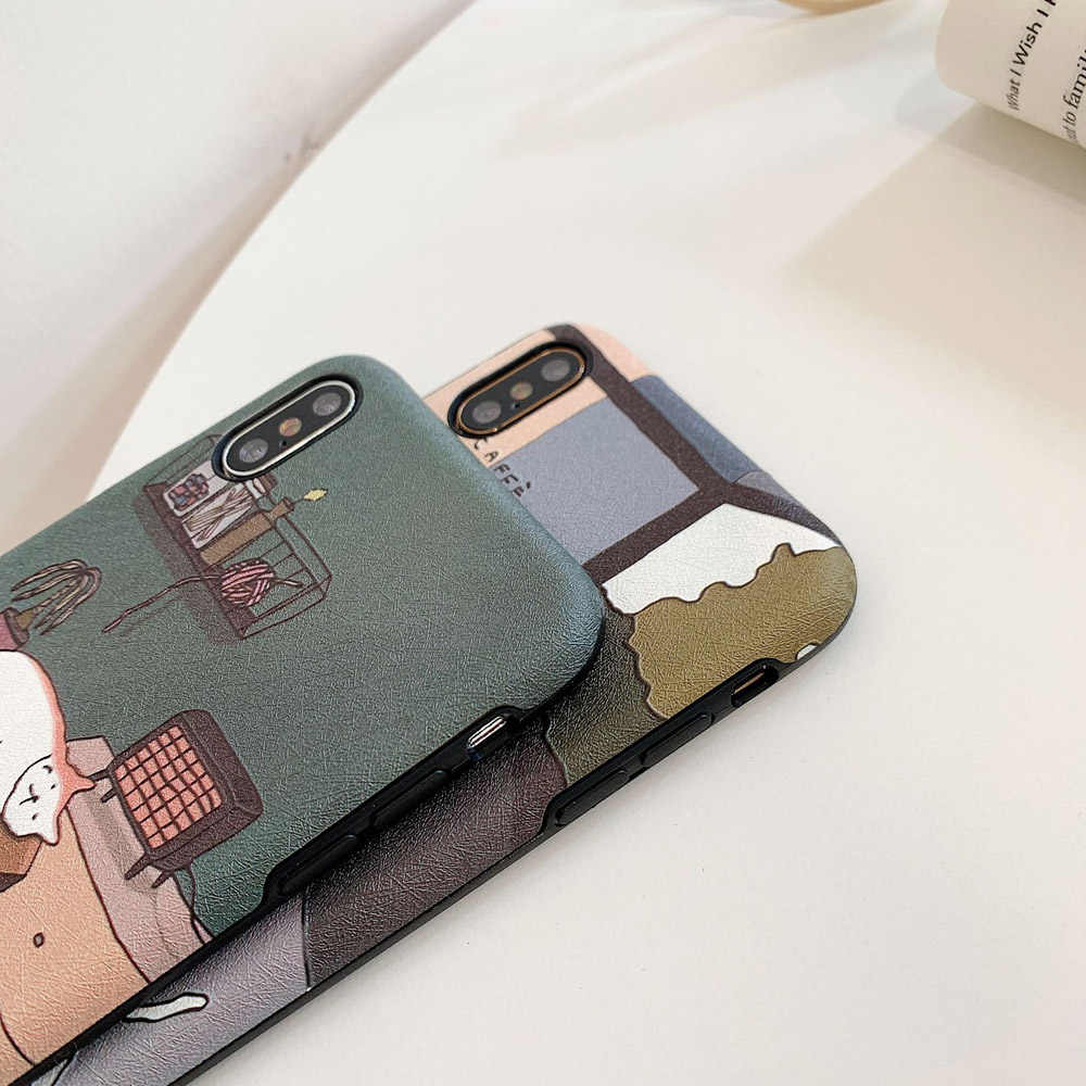 Emboss Heyytle Bonito Caso Dos Desenhos Animados Para o iphone X XS MAX XR Caso do Teste Padrão do Gato Para o iphone 7 8 6 6S Plus 9 Ultra Slim Casos Cobertura Completa