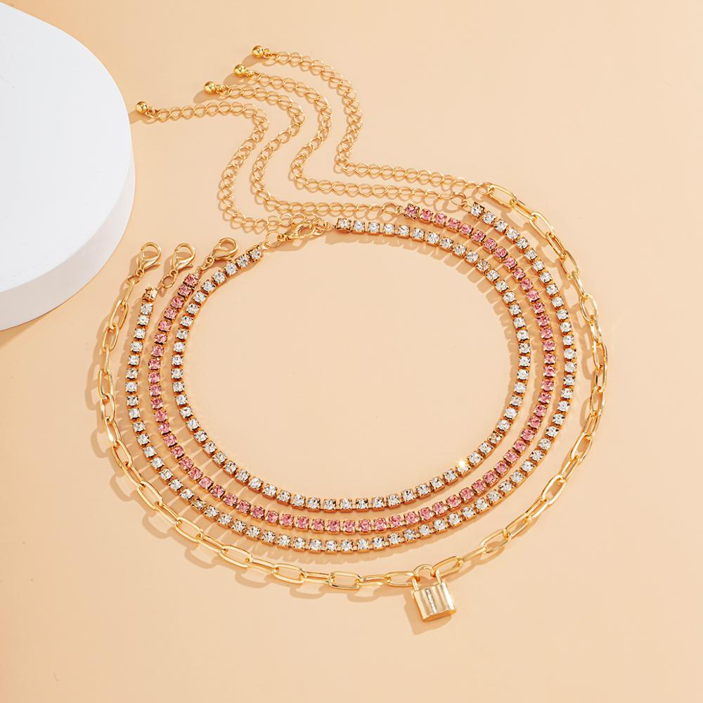 4-Piece Multi Layer Lock Pendant and Tennis Chain Necklace – AIDA Choker Jewellery Sets Layered Necklace Necklaces Pendant Necklace 8d255f28538fbae46aeae7: Gold-color silver color