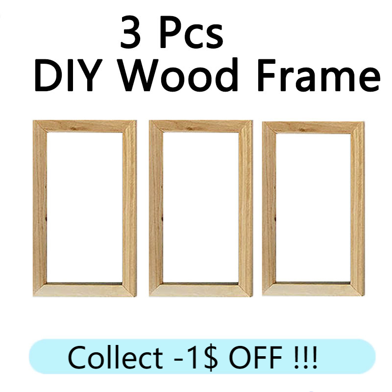 3 Pcs Wood Frame for Canvas Painting DIY Custom Size Poster Wooden hanger Frames Wall Art Photo picture Prints Framed