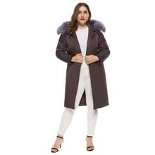 Women Winter parkas Medium and long section thickened women parka slim winter Silver fox fur collar coat down cotton
