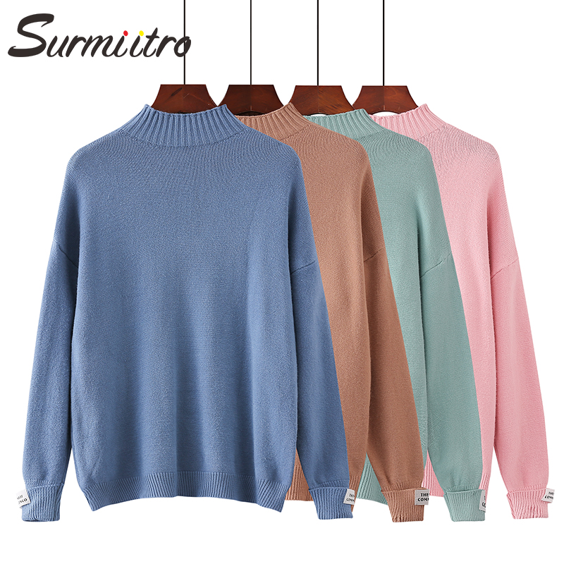 SURMIITRO Knitted Warm Sweater Female For Autumn Winter 2019 Ladies Long Sleeve Women Turtleneck Tricot Pullover Blue Jumper