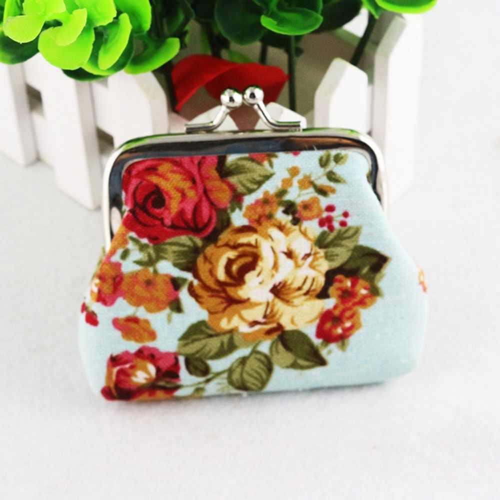 2019 kleine Damen Geldbörse Und Haspe Blumen Drucken Geldbörse Frauen Nette Karte Schlüssel Mini Kinder Tasche Unisex Karte Halter brieftasche