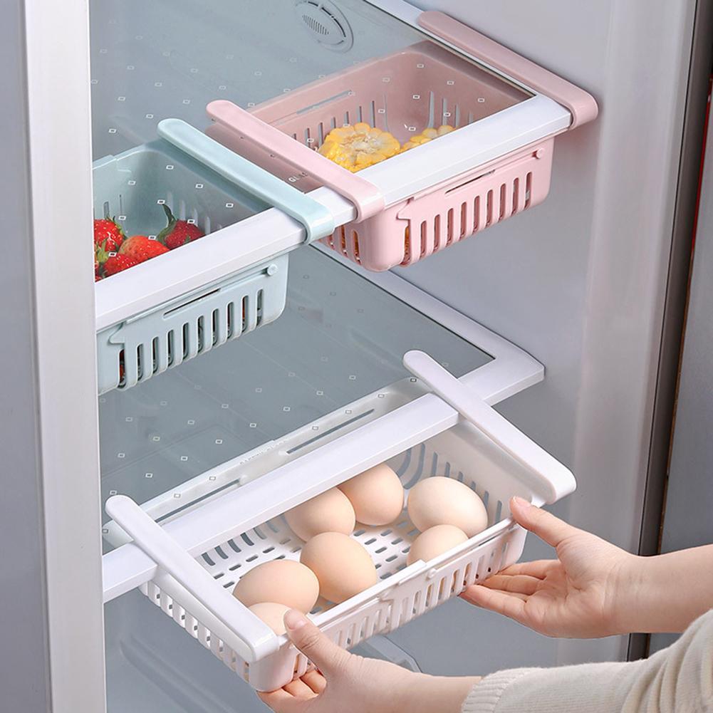Retractable Kitchen Fridge Freezer Slide Drawer Type  Organizer Slide Under Shelf Drawer Box Rack Holder Storage Boxes