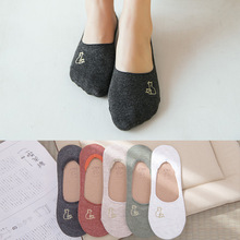 5 Pairs Female Summer Cotton Ankle Socks Female Sweat Absorbing Casual Women Invisible Boat Socks No slip Embroidery Sox NSB0605