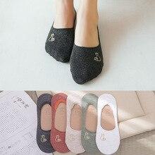 5 pares feminino verão algodão tornozelo meias feminino suor absorvente casual mulheres invisível barco meias sem deslizamento bordado sox nsb0605