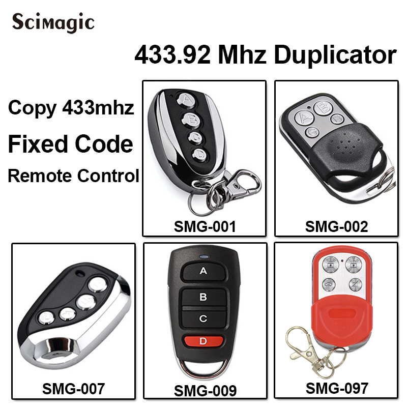 433.92 Mhz Duplicator Copy Garage Gate Remote Control For Fixed Code 433mhz Transmitter Keychain Opener Command