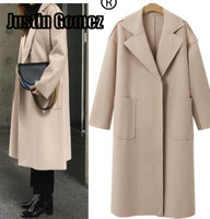 European autumn and Winter Loose causal Woolen Trench Coat Long Sleeve Pea Coat Lapel Open Front Long Jacket Overcoat Outwear