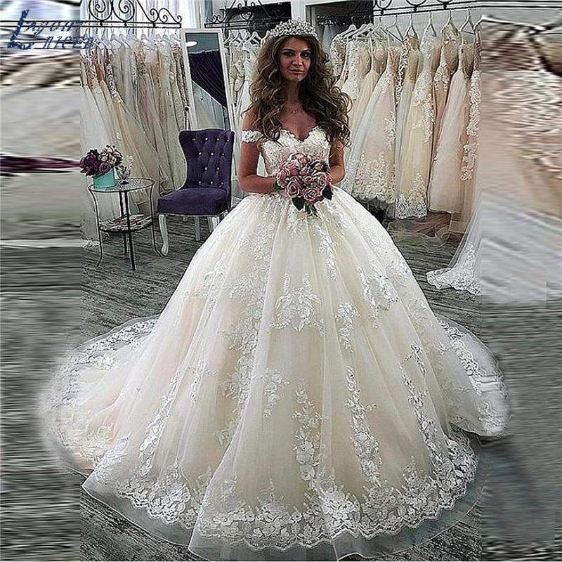 ZL1071 Luxury New Off Shoulder Lace Ball Gown Wedding Dress 2019 Vestido De Noiva Robe De Mariee Vestidos De Festa Bride Dress