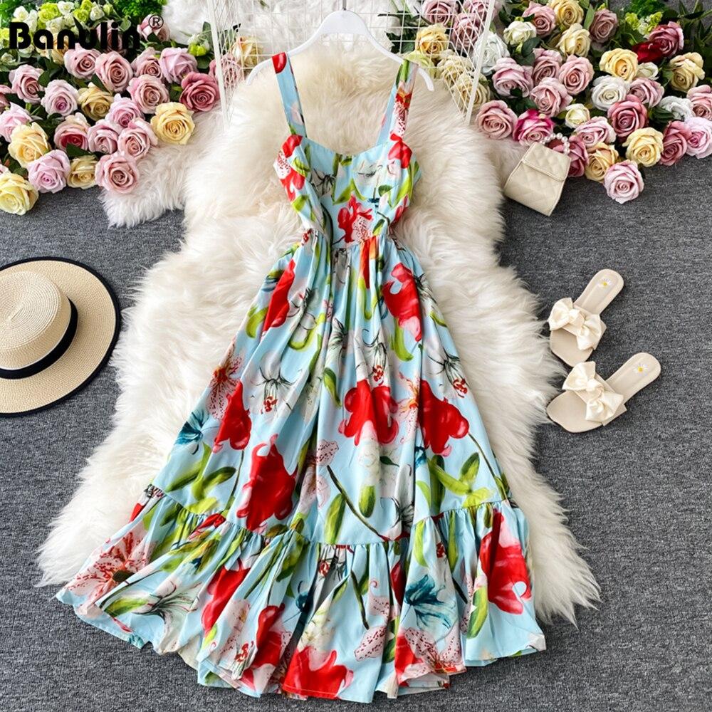 Banulin 2021 verão moda pista floral vestido de férias das mulheres sem mangas tanque vestido casual elegante senhora festa longo|Vestidos|   -
