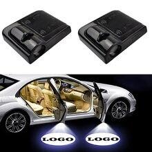 Lampe Laser avec Logo de porte de voiture, 2 pièces, projecteur sans fil universel, lumière d'ambiance pour décoration de voiture