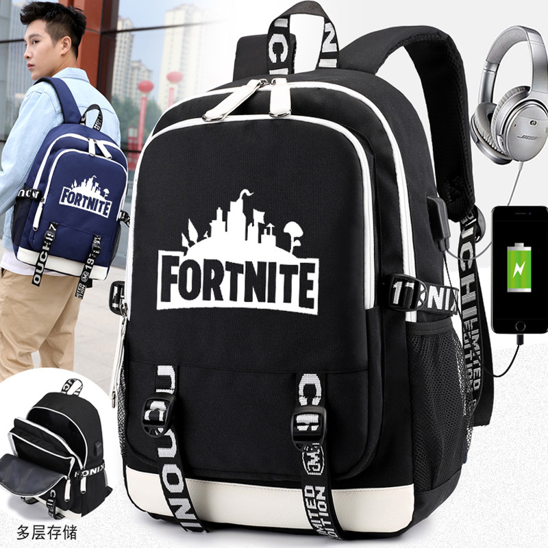 Cross-Border Selling USB Backpack Fortnite Mobilefortress Night Related Shoulder Backpack Student School Bag Amazon