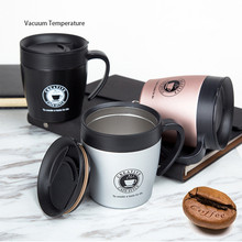 2018 New Bpa-free 330ml double layer Stainless steel thermos cup Handle spoon coffee mug milk tea office family Vacuum flask