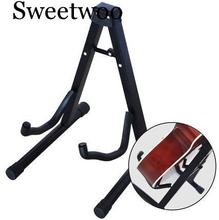 SWEETWOO 370mm Folding Tripod Stand Door Acoustic Guitar Electric Bass Black