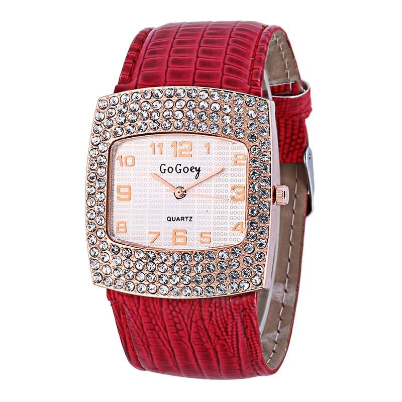 Women Crystal Square Big Dial Watch Hodinky Ladies Top Brand Luxury Quartz Watch Leather Band Clock Drop Shipping Zegarek Damski