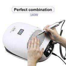140 Вт 3 в 1 маникюрный набор с сушилкой для ногтей электрическая дрель для ногтей машина с коллектор для всасывания пыли с ногтей пылесос