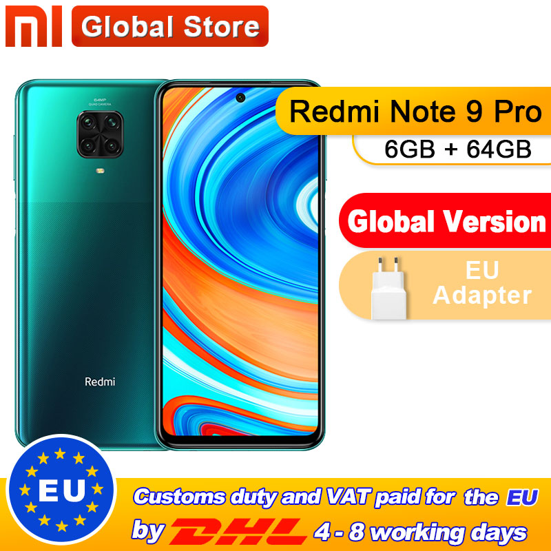 "In Stock Global Version Redmi Note 9 Pro 6GB 64GB NFC Smartphone Snapdragon 720G Octa Core 64MP Quad Camera 6.67"" Screen 5020m(China)"