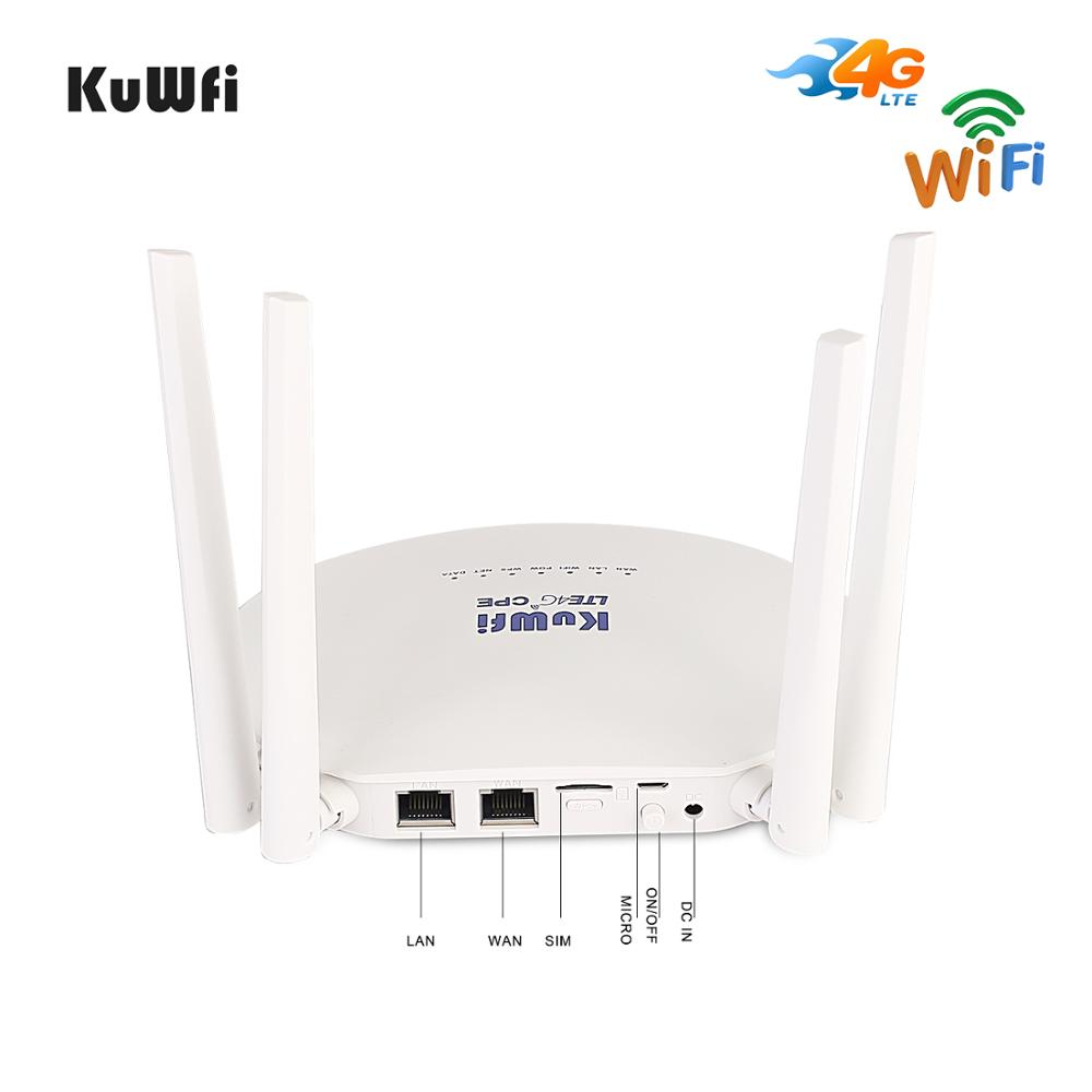 KuWfi 4G LTE CPE Router 300Mbps Wireless Router 3G/4G LTE wifi Router con Sim ranura para tarjeta y antena externa de 4 piezas 32 usuarios - 2