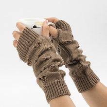 Luvas femininas à moda mão mais quente luvas de inverno braço feminino crochê tricô oco coração luvas sem dedos quentes