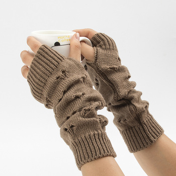 Women Gloves Stylish Hand Warmer Winter Gloves Women Arm Crochet Knitting Hollow Heart Mitten Warm Fingerless Gloves