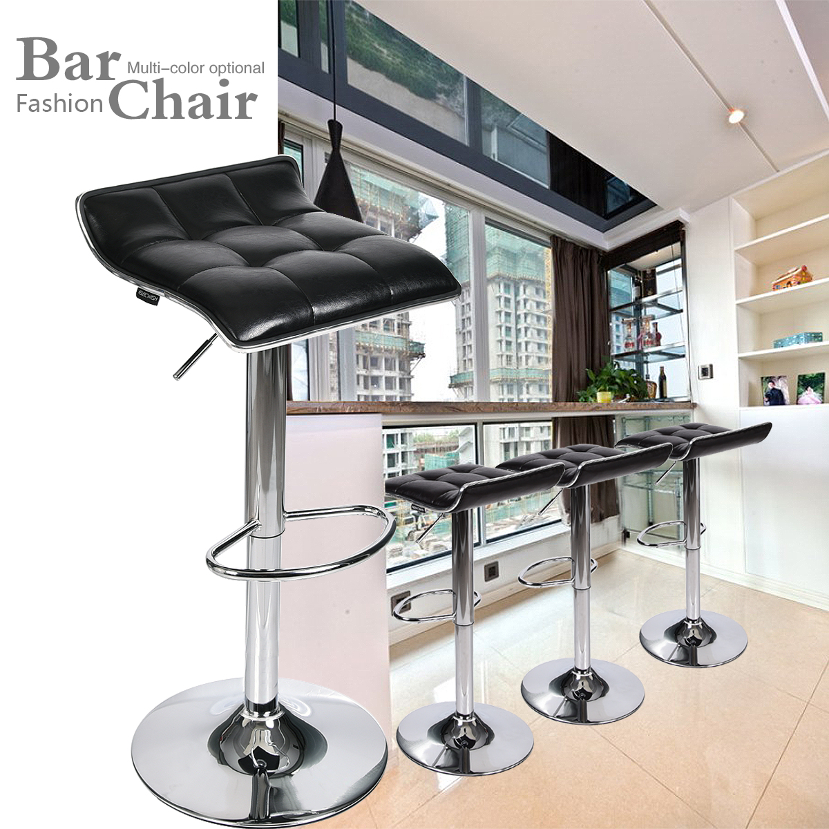 Set of 4 Bar Stools Counter Adjustable Swivel PU Leather Dinning Chair Black US|  - title=