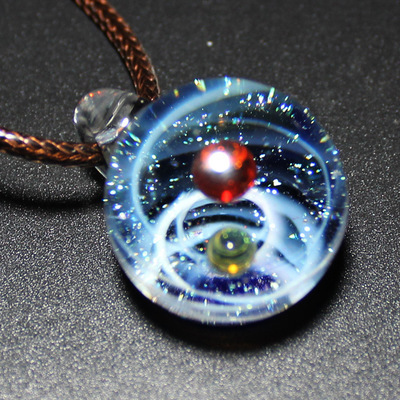 Nebula Galaxy Double Sided Pendant Necklace Glass Art Picture Handmade Statement Universe Planet Jewelry Necklace for Women 1