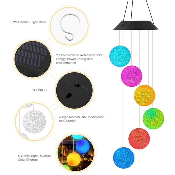 Crystal Ball Solar Wind Chime Light 2