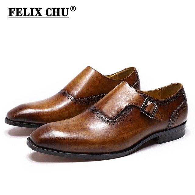 FELIX CHU Men Dress Shoes Plain Toe Genuine Leather Brown Hand Painted Buckle Monk Strap Business Office Mens Formal Suit Shoes