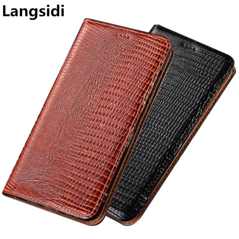 Sac de téléphone en cuir véritable motif lézard de Style d'affaires pour OPPO Reno Ace/OPPO Reno 2/OPPO Reno Z coque de téléphone porte-carte de crédit