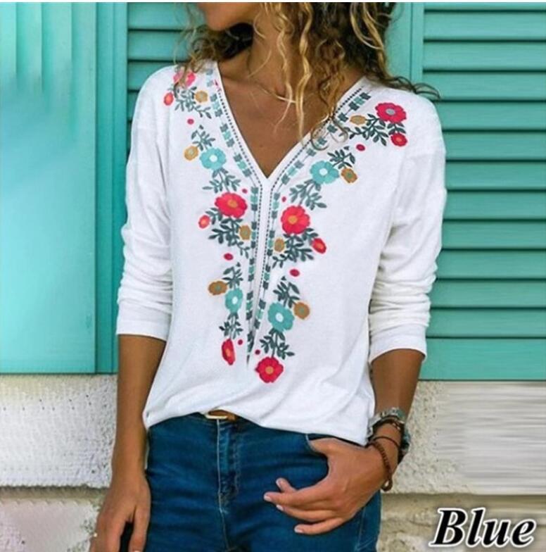 Elegant V Neck Long Sleeve T shirt Woman Dandelion Pullover Women Women's Blouses Women's Clothings