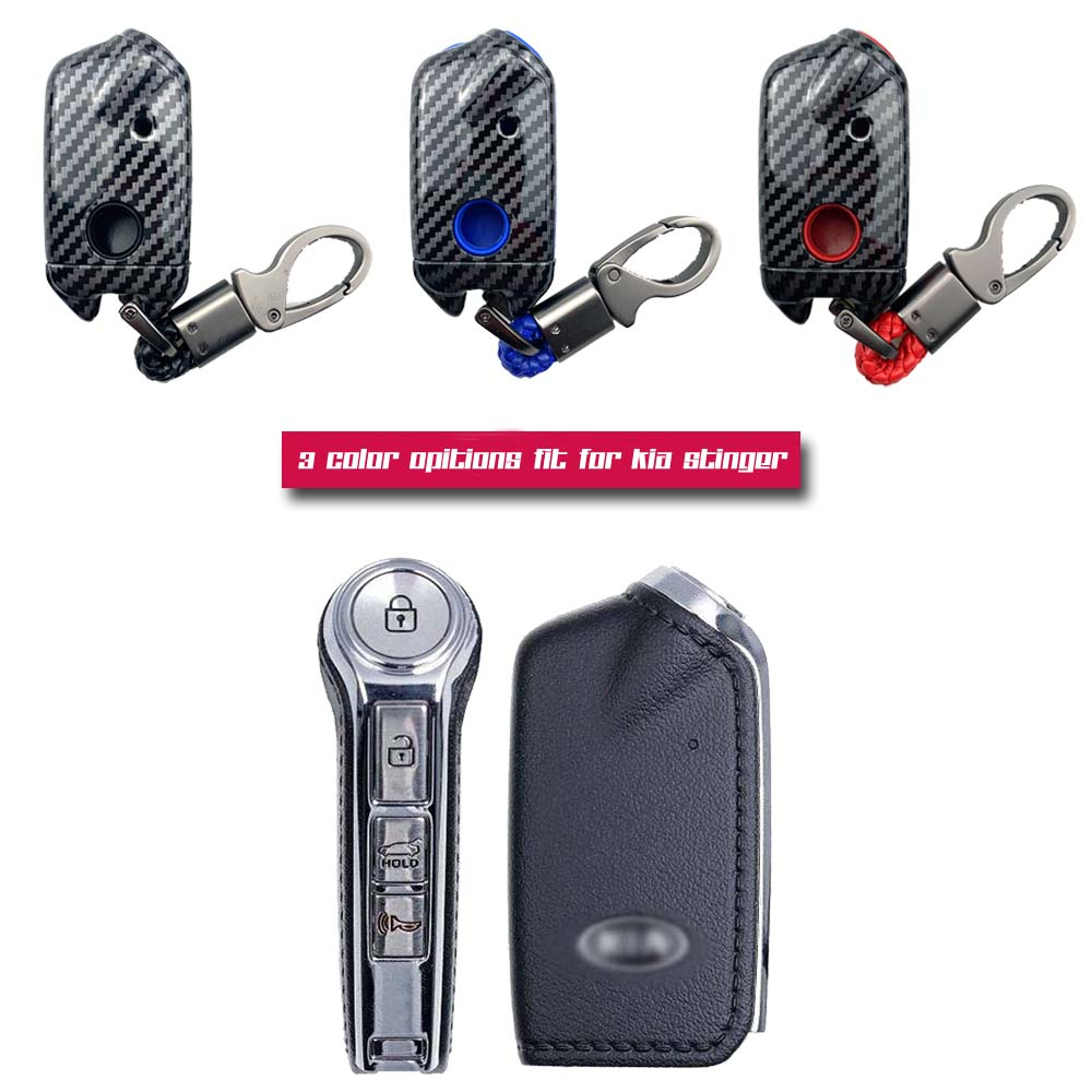 ABS Carbon Fiber Shell Silicone Cover Remote Key Holder Fob Case amp KeyChain For Kia Stinger