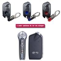 Abs escudo de fibra carbono + capa silicone remoto chave titular fob caso & chaveiro para kia stinger|Estojo de chaves p/ carro|Automóveis e motos -