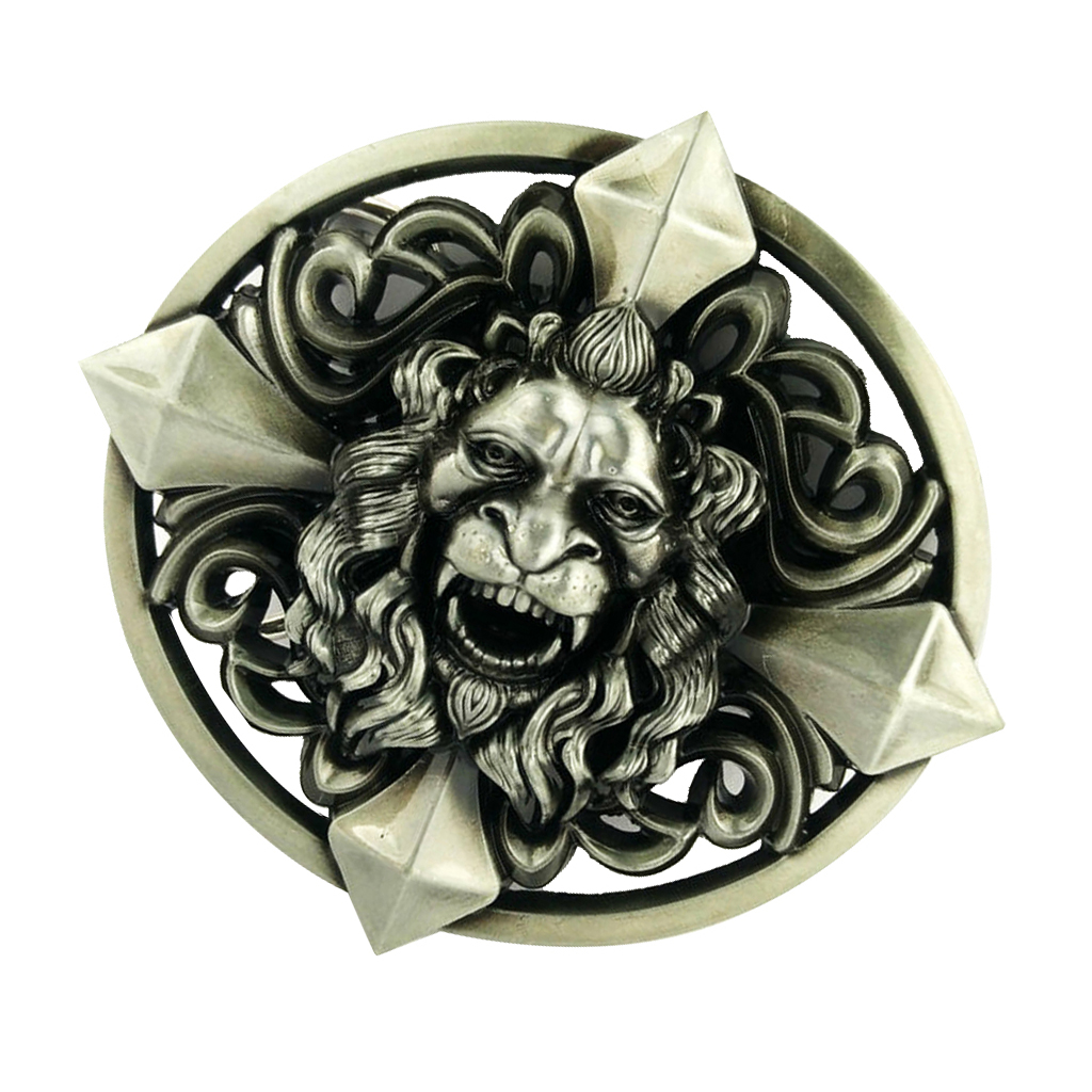 Novelty Oval Gothic Belt Buckle 3D Lion Head Cross Classic Cool Halloween