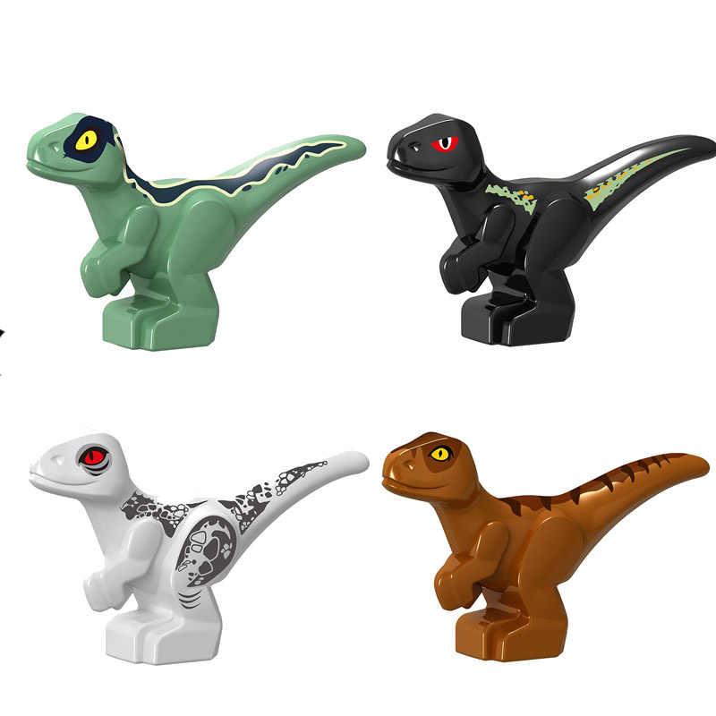 4Pcs Building Blocks Del Mondo Parco Mini Dinosauro Carnotaurus T-Rex Principessa Serie di Cartoni Animati Modello di Azione Figure giocattoli per bambini