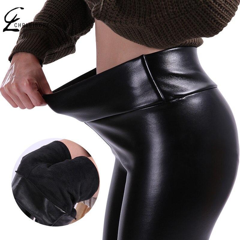 CHRLEISURE S-5XL Frauen Plus Größe Winter Leder Hosen Warme Samt Hose Hohe Taille Hose Frauen Dick Stretch Pantalon Femme