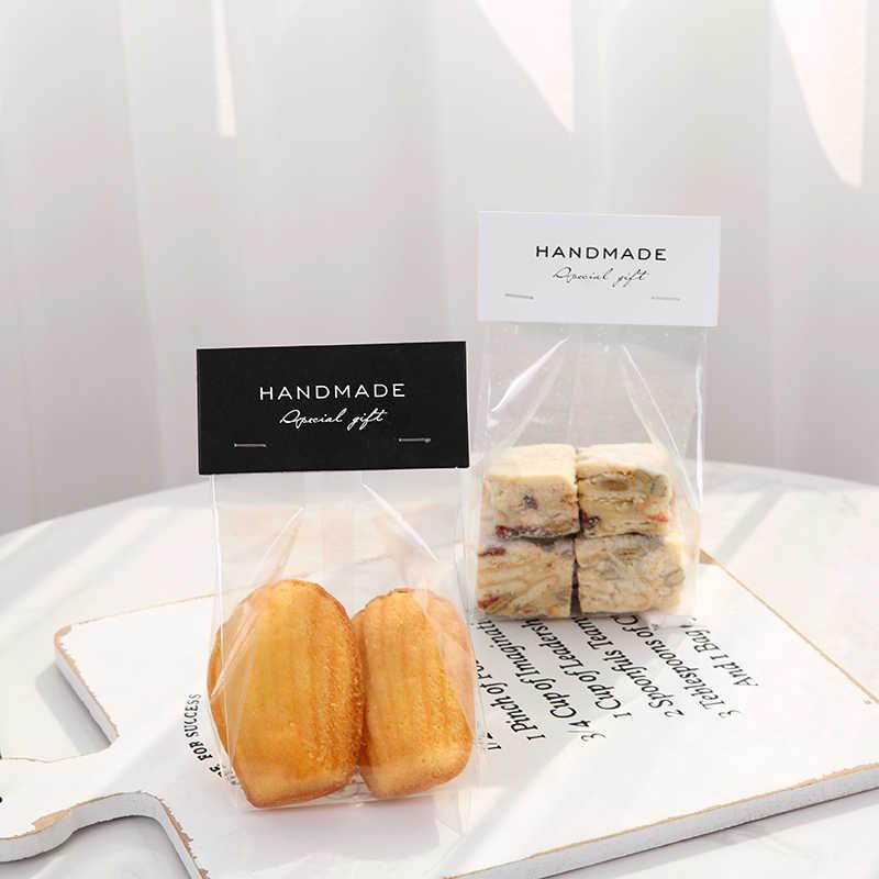 Lbsisi Leven 50 Pcs Hand Made Candy Cookie Tassen Wedding Self Stand Biscuit Chocolade Diy Custom Bakken Tas Met Kaart bodem