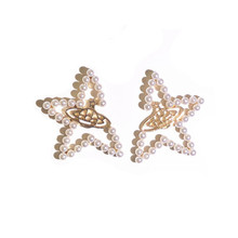 925 silver needle Stud earrings Personality missing Angle star web celebrity temperament Womens fashion jewelry