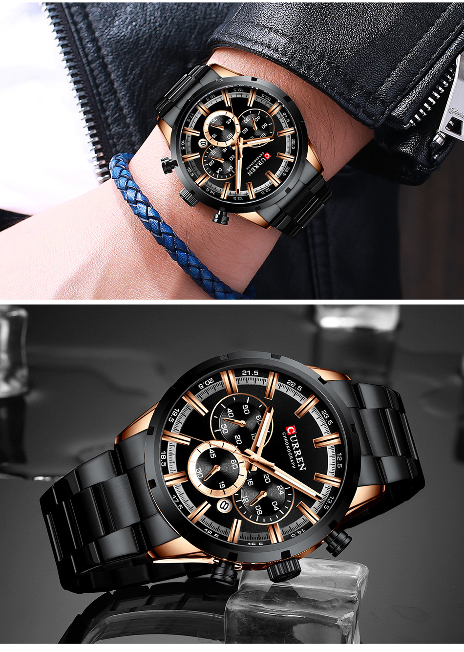 H295ef6ca65284c41b93486515f6de88cU CURREN Men Watch Top Brand Luxury Sports Quartz Mens Watches Full Steel Waterproof Chronograph Wristwatch Men Relogio Masculino