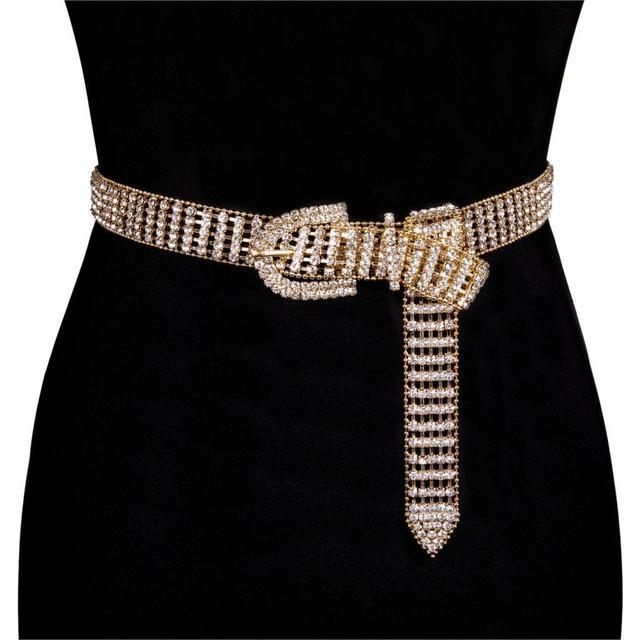 2019 New women's Shiny Full-rhinestone belt female bright Bride bling crystal diamante Diamond Belt Sliver Gold Waist Chain belt