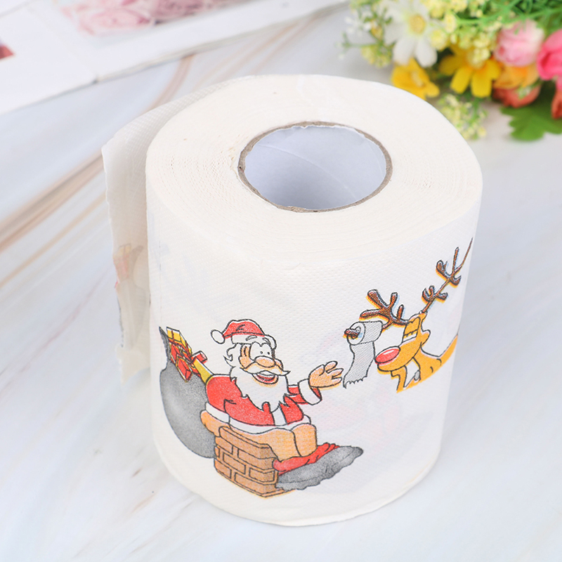 1Roll 2019 Santa Claus Reindeer Print Christmas Toilet Paper Home Decor Gifts  For Table New Year