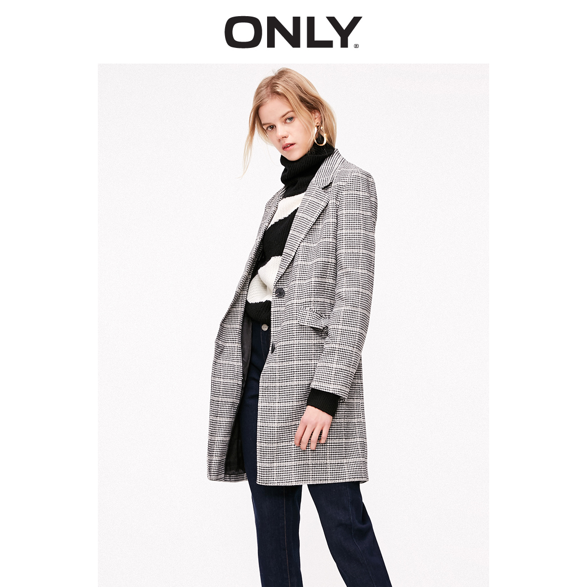 ONLY Women's Mid-length Checked Plaid Blazer | 119108509